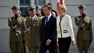 Andrzej Duda z żoną w Pałacu Prezydenckim