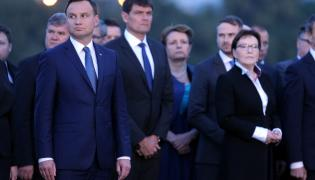 Prezydent Andrzej Duda i premier Ewa Kopacz na Westerplatte