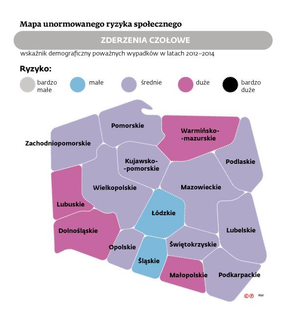 Mapa ryzyka zderzeń czołowych