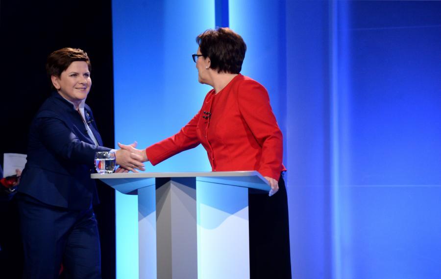 Przewodnicząca PO, premier Ewa Kopacz oraz kandydatka PiS na premiera Beata Szydło