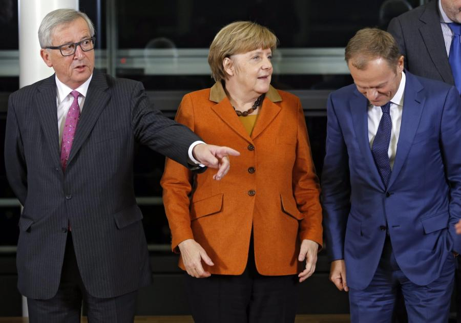 Jean-Claude Juncker, Angela Merkel i Donald Tusk