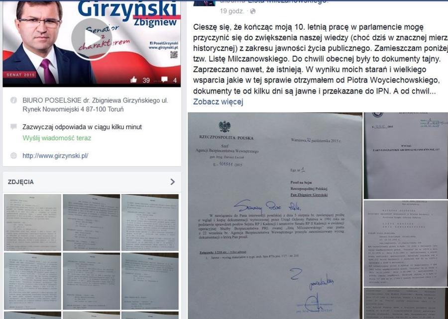 Profil Zbigniewa Girzyńskiego na Facebooku