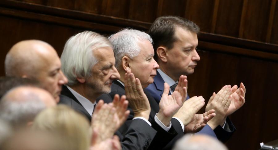 Politycy PiS, od lewej: Joachim Brudziński, Ryszard Terlecki, Jarosław Kaczyński i Mariusz Błaszczak