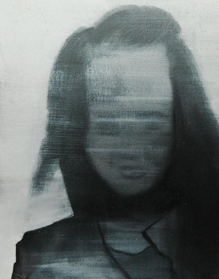 """""""Szkice do portretu 43"""", Cezary Bednarczyk, olej na płótnie, 50x40 cm"""