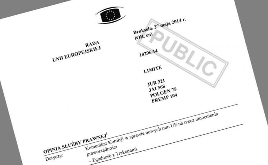Ekspertyza Służby Prawnej Rady UE w sprawie mechanizmu obrony praworządności