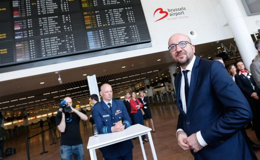 Premier Belgii Charles Michel na lotnisku Zaventem