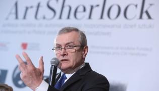 Wicepremier i minister kultury Piotr Gliński, podczas konferencji prasowej na Zamku Królewskim w Warszawie