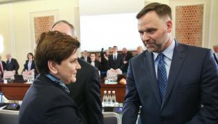 Minister skarbu Dawid Jackiewicz i premier Beata Szydło