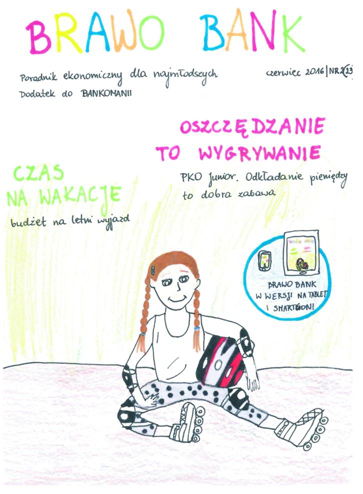 """Rysunek okładki najnowszego wydania magazynu """"Brawo Bank"""" autorstwa Oli Dyniec (lat 12)"""