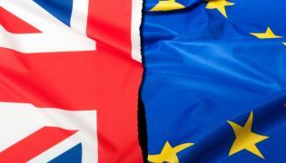 Flagi Wielkiej Brytanii i UE