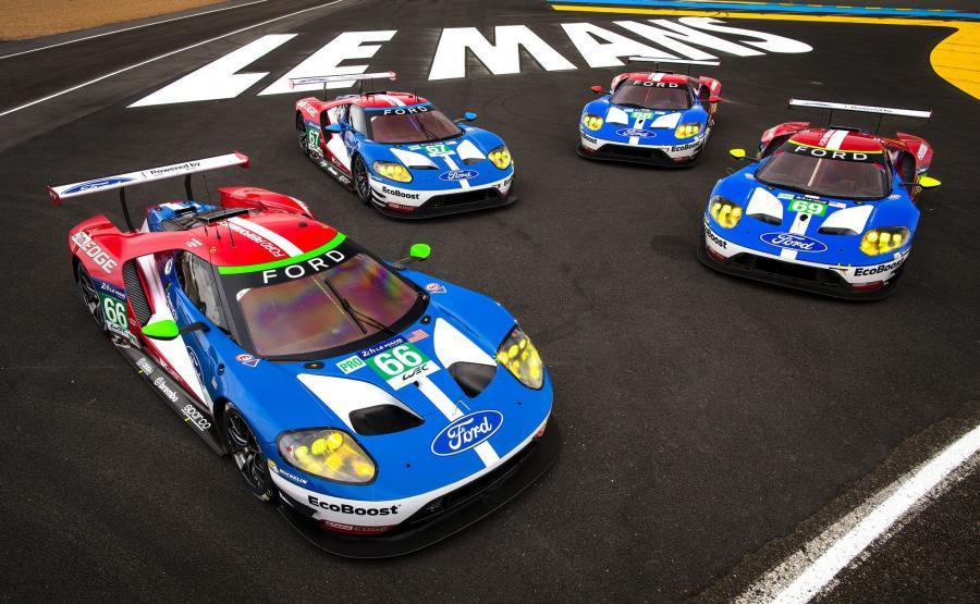 Cztery wyczynowe Fordy GT zespołu Ford Chip Ganassi Racing gotowe do startu w tegorocznej edycji 24 godziny Le Mans