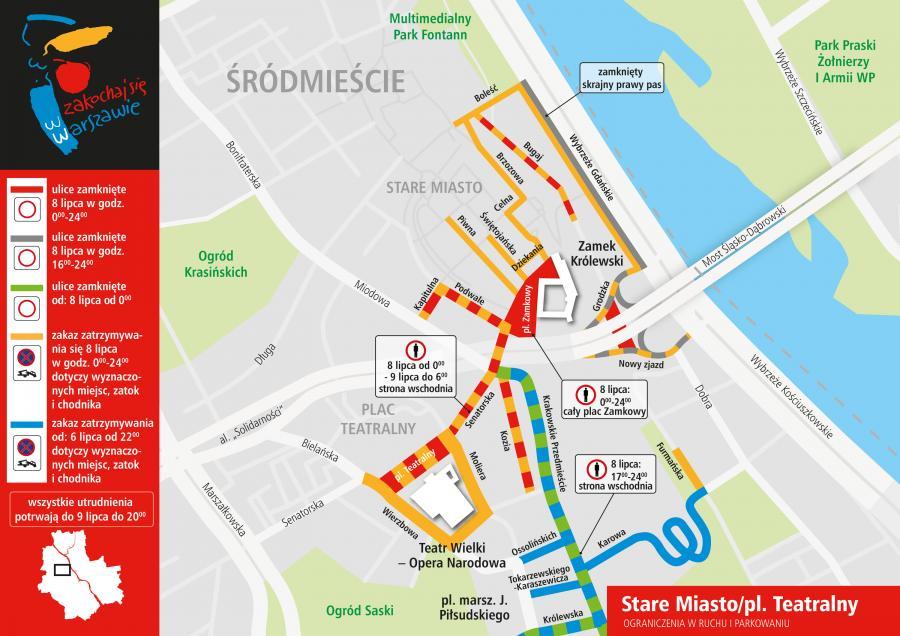 Plan ograniczeń w czasie szczytu NATO - Warszawa Stare Miasto