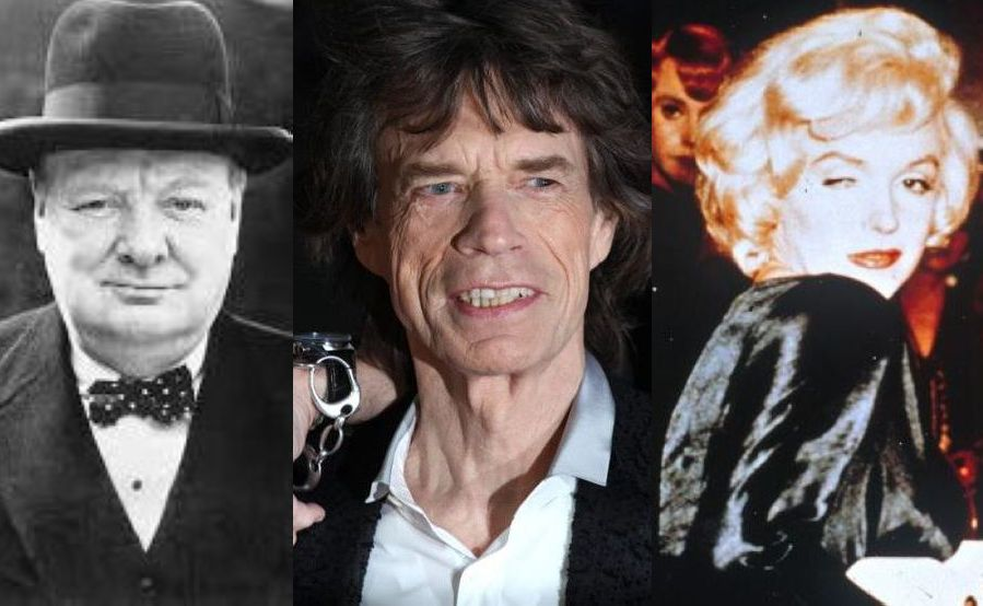 Winston Churchill, Mick Jagger, Marilyn Monroe
