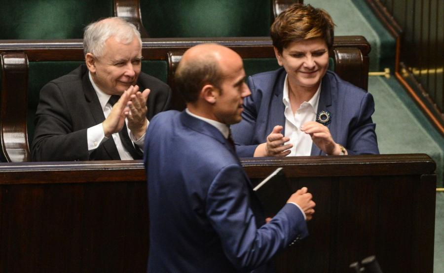 Jarosław Kaczyński, Borys Budka i premier Beata Szydło