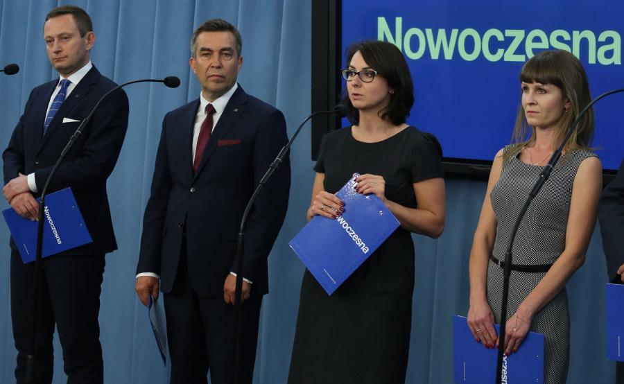 Konferencja Nowoczesnej (Paweł Rabiej pierwszy z lewej)