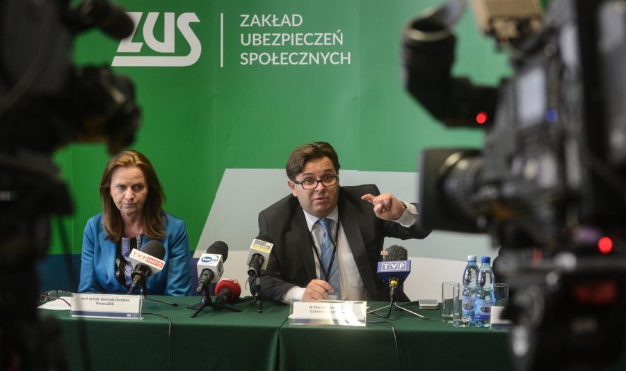 Prezes ZUS Gertruda Uścińska i Marcin Wojewódka