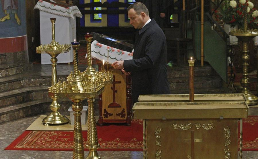 Prezydent Andrzej Duda odwiedził sobór Świętej Trójcy w Hajnówce
