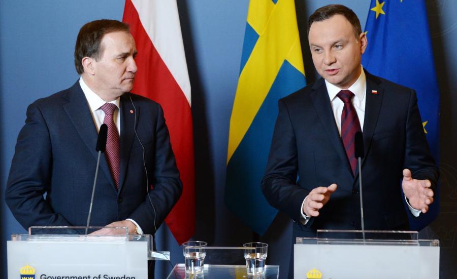 Prezydent Andrzej Duda i premier Szwecji Stefan Loefven