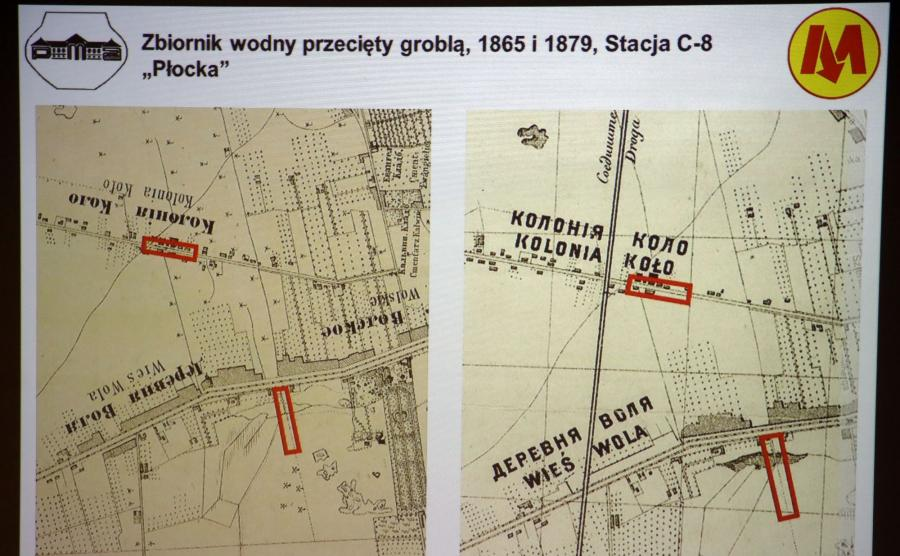 Wyświetlany na telebimie układ fortyfikacji z września 1831 r. w okolicach powstających stacji metra \
